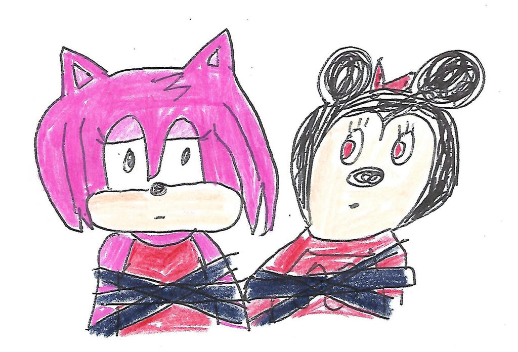 Amy and Minnie tied up together - color version by dth1971