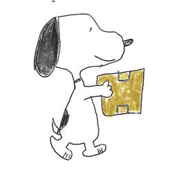 Snoopy with a package ready to be mailed by dth1971
