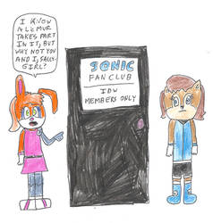 Bunnie and Sally at the Sonic Fan Club door by dth1971