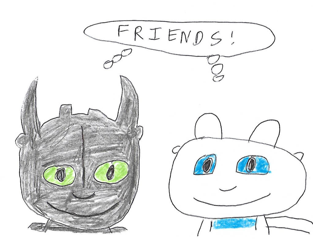 Toothless and Light Fury - Friends! by dth1971
