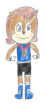 Sally Acorn wearing a gold medal
