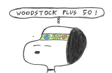 Snoopy salutes the 50th anniversary of Woodstock