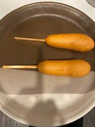 2 veggie corn dogs