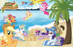 Mane 6 and Friends at the Beach by MintyStitch
