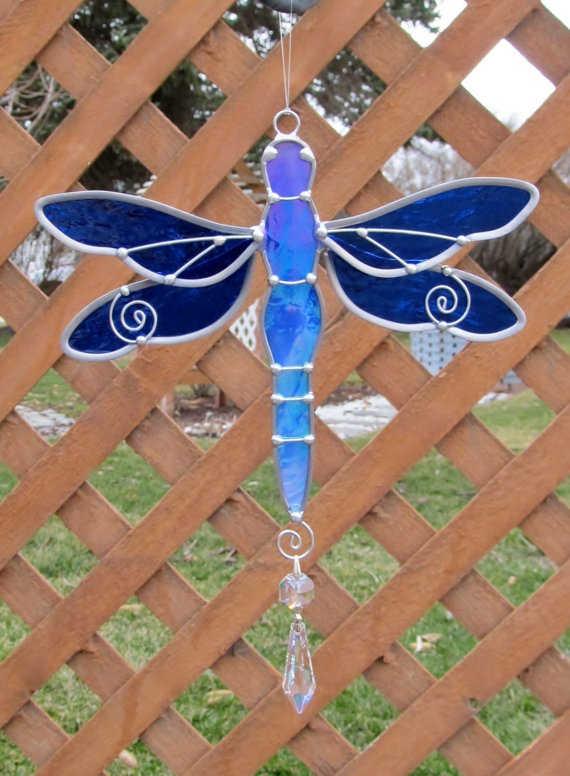 Stained Glass Dragonfly Suncatcher by JasGlassArt