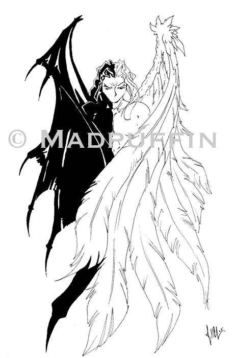 angel devil tattoo design by madpuffins on deviantart. Black Bedroom Furniture Sets. Home Design Ideas