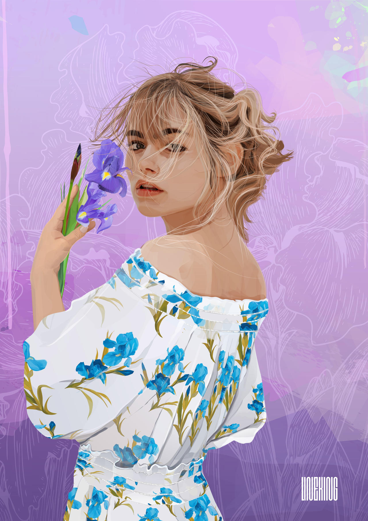 Blue Iris (vector artwork)