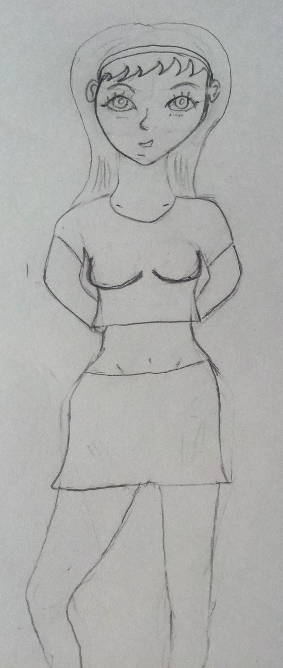 Anime Girl Standing Sketch By Weresclinton On DeviantArt