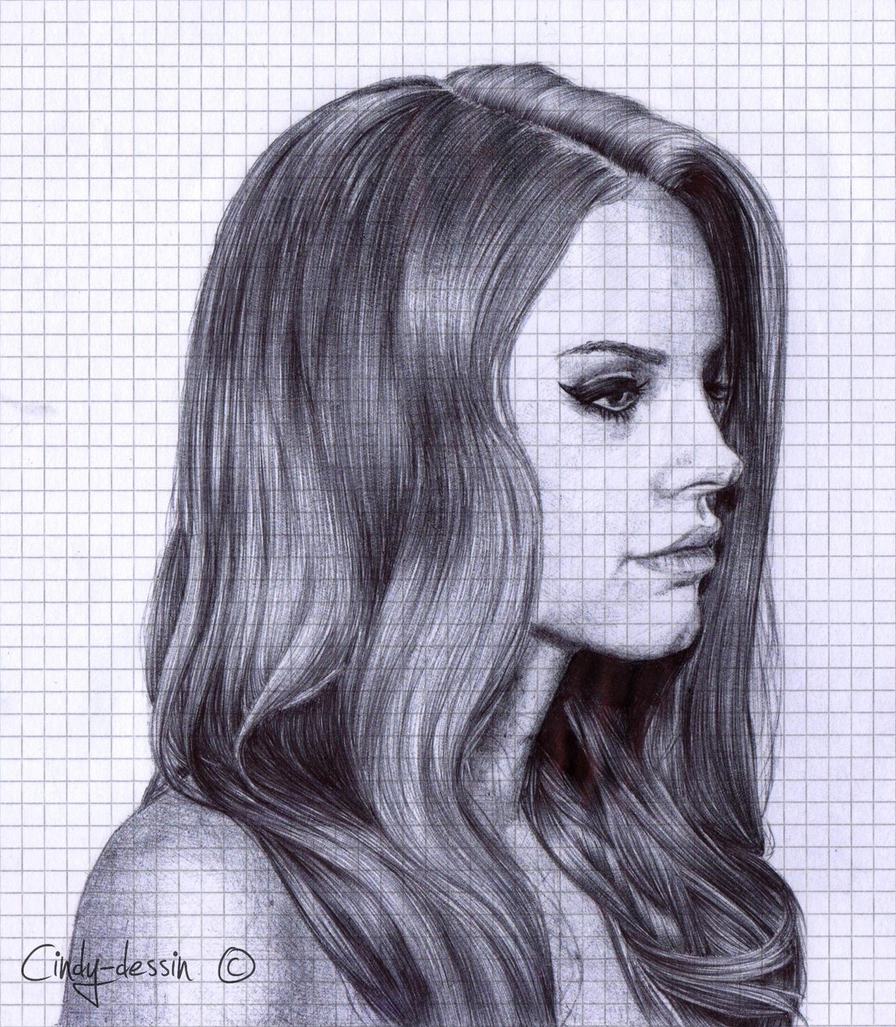 Lana Del Rey (ballpoint pen) by cindy-drawings