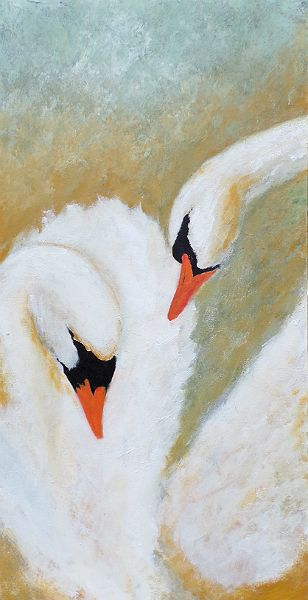 Unconditional - Swan painting on canvas by DavidMunroeArt