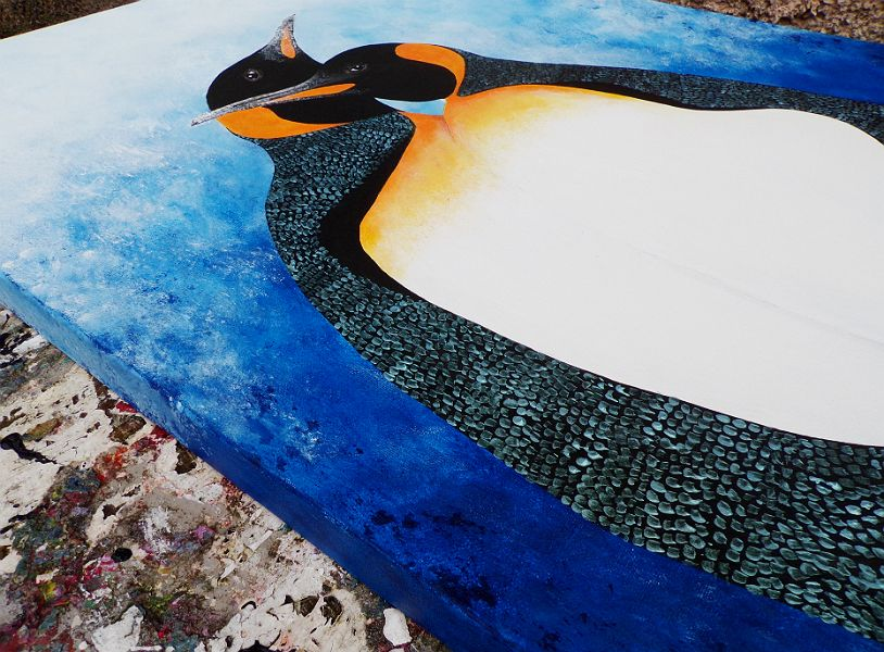 Close Up View Of Penguin Painting In Acrylics by DavidMunroeArt