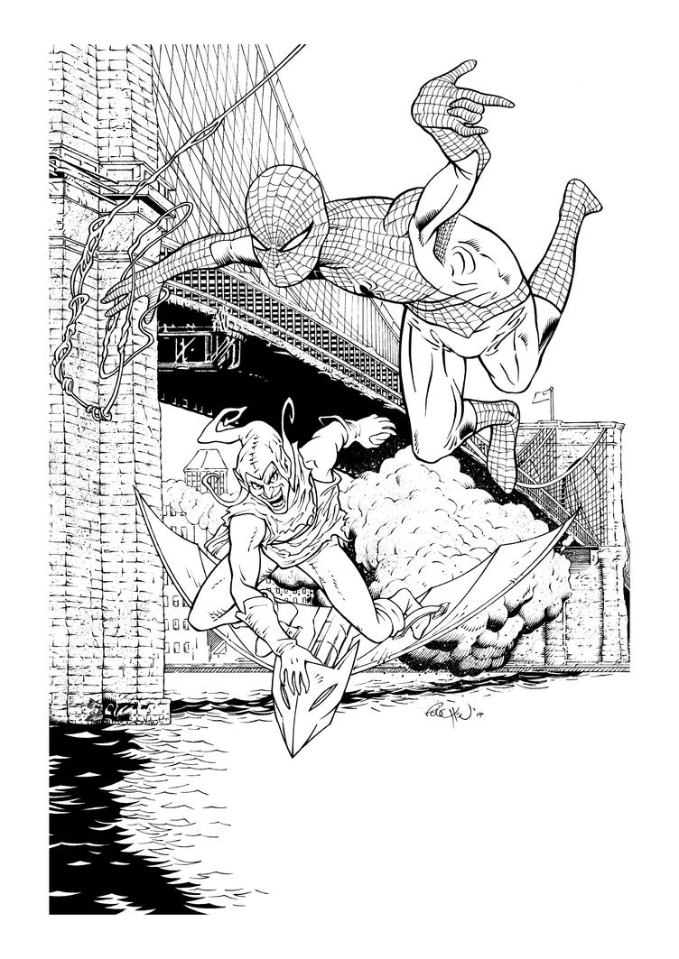 Bridge over Troubled Spidey inks by JoelPoischen