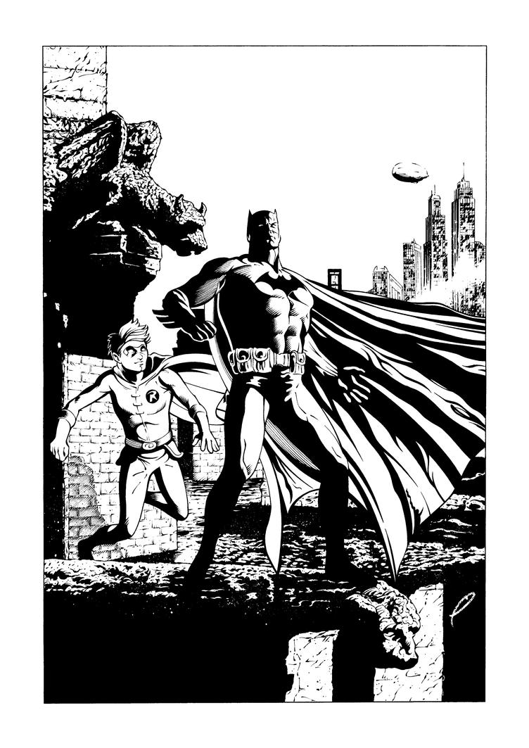 Batman Rooftop inks by JoelPoischen
