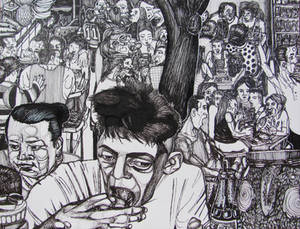 People eating at the pupuseria