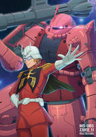 Zaku II S and Char Aznable by emubi