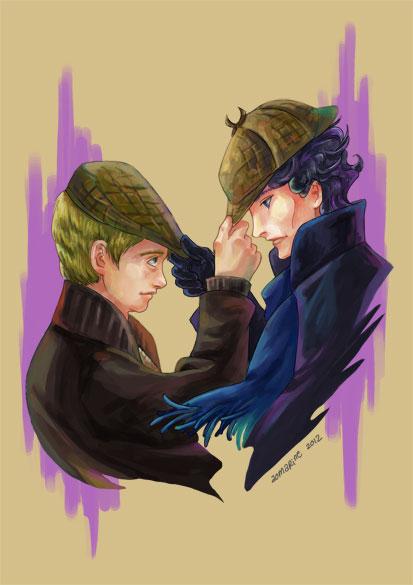 Sherlock and Watson by aomarine