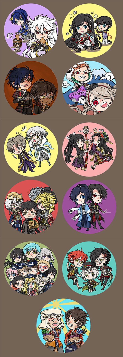 Touken Ranbu Badges Set by aomarine