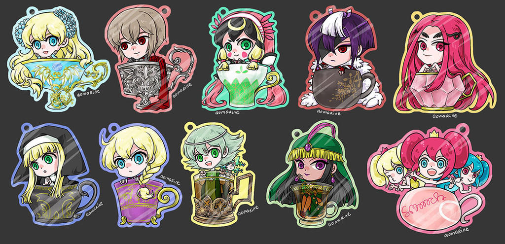 Zektbach and smooooch tea cup charms by aomarine