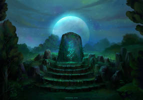 Runestone at Night by Nele-Diel