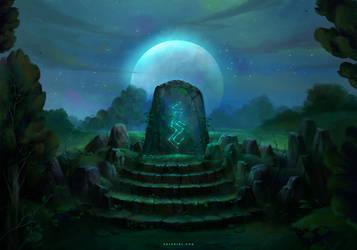 Runestone at Night by Nele-Diel