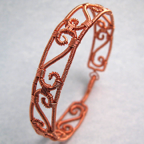 Copper Wire Wrapped Bracelet by Gailavira