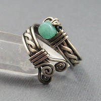 Amazonite + Sterling Adj Ring by Gailavira