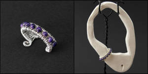 Sugilite and Sterling Ear Cuff