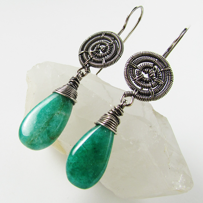 Green Quartz and SS Earrings by sylva