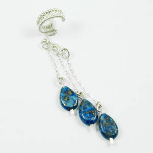 Sterling and Lapis Ear Cuff