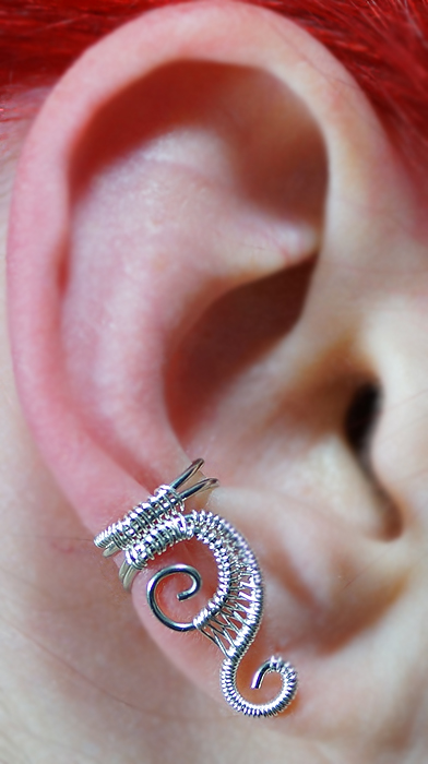 Woven swirly ear cuff   small by sylva d4yrcah
