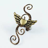 Brass Winged Heart Ear Cuff