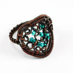 Copper and Mint Beaded Scroll Ring