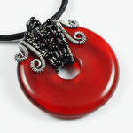 Red Glass, Black Agate and Sterling Silver