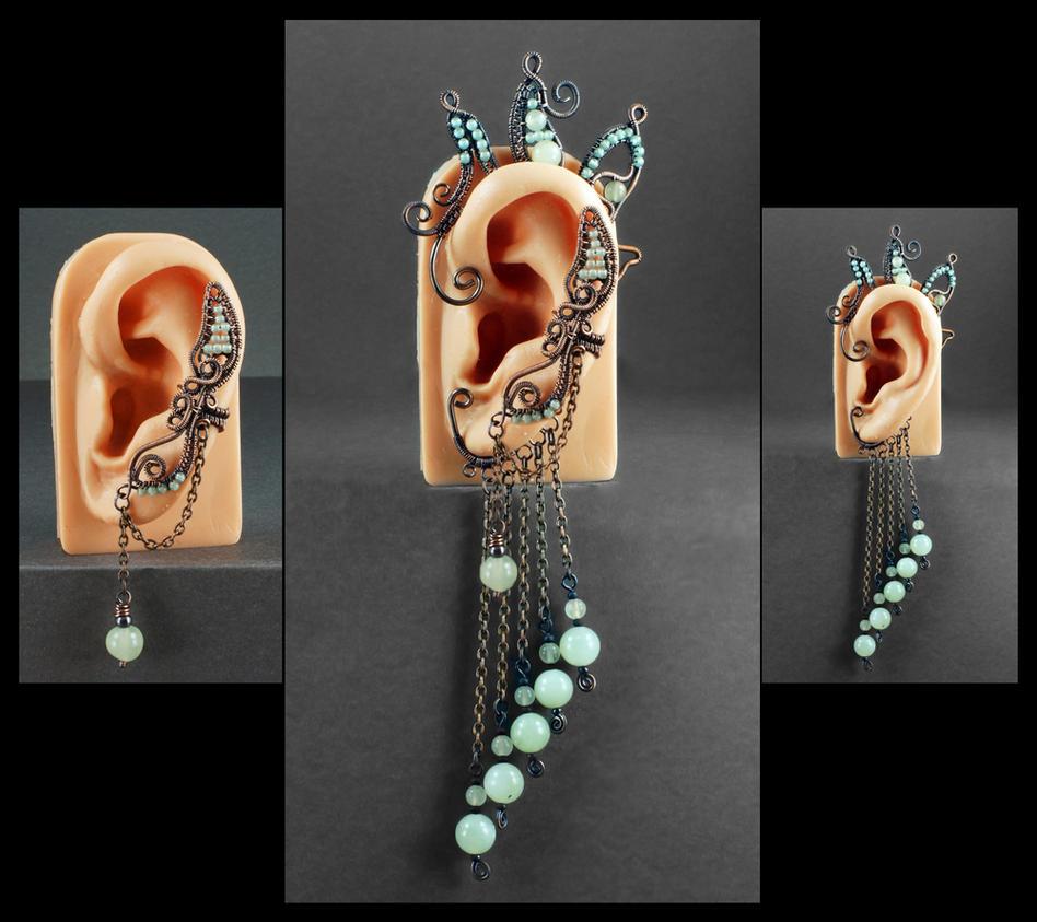 Copper, Aventurine and New Jade Ear Cuff/Ear Wrap by Gailavira