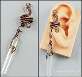 Copper and Quartz Point Ear Cuff by Gailavira