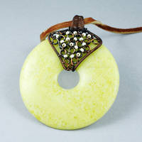 Copper and Peridot Jasper Donut Necklace by Gailavira