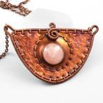 Rose Quartz and Copper 'Shield' Necklace