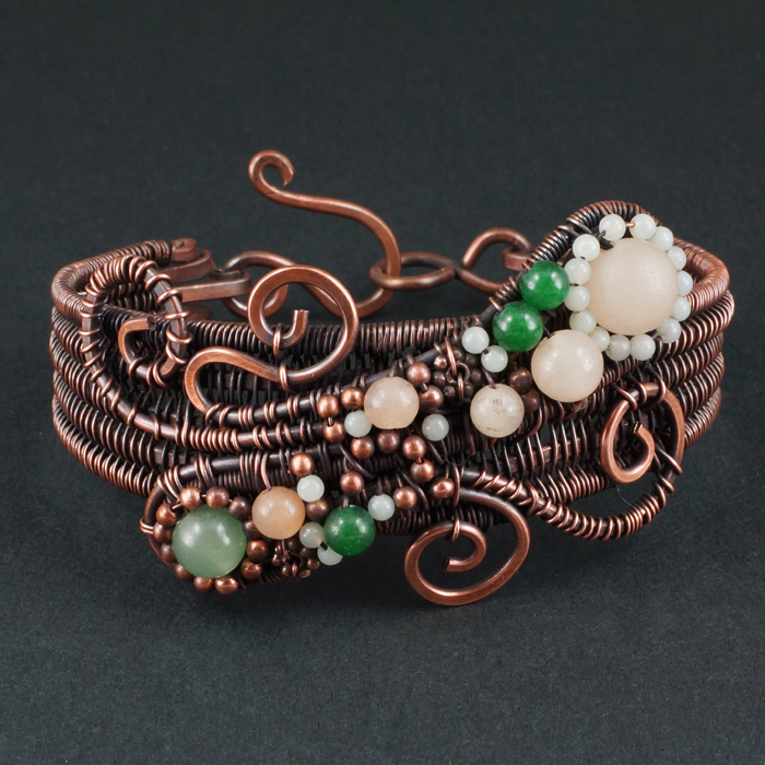 Aventurine, Amazonite and Copper Woven Bracelet by Gailavira