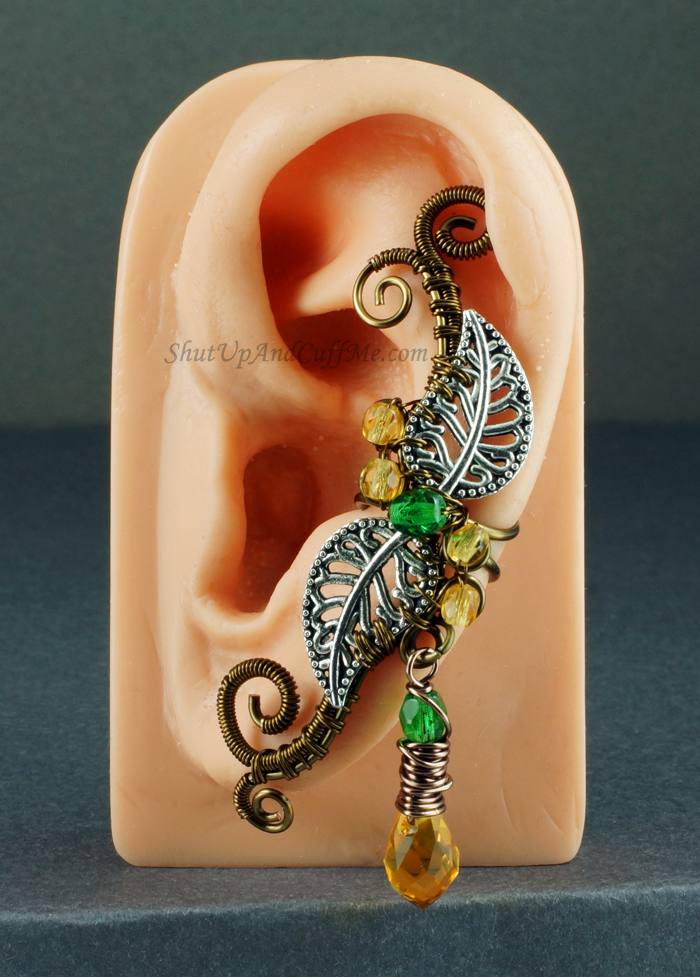 Silver and Brass Forest Fairy Ear Cuff by sylva