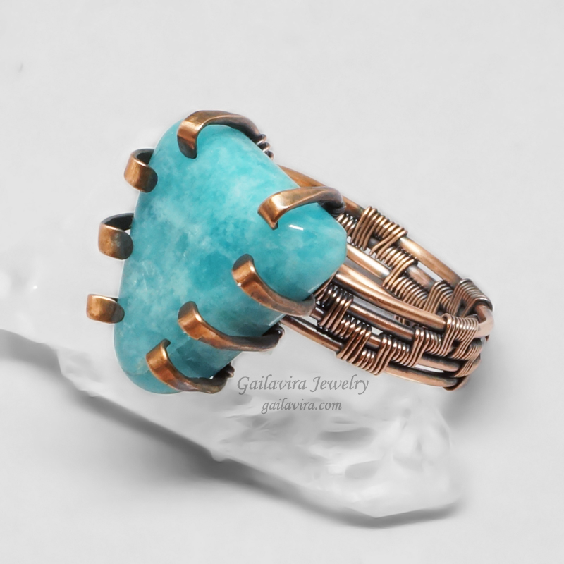 Copper and Blue Stone Wire Wrapped Prong Ring by Gailavira on DeviantArt