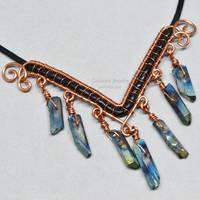 Rainbow Titanium Quartz Crystal Point Necklace