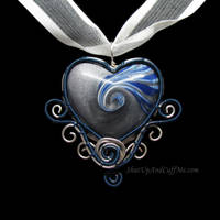 Blue and Silver Swirly Heart Pendant