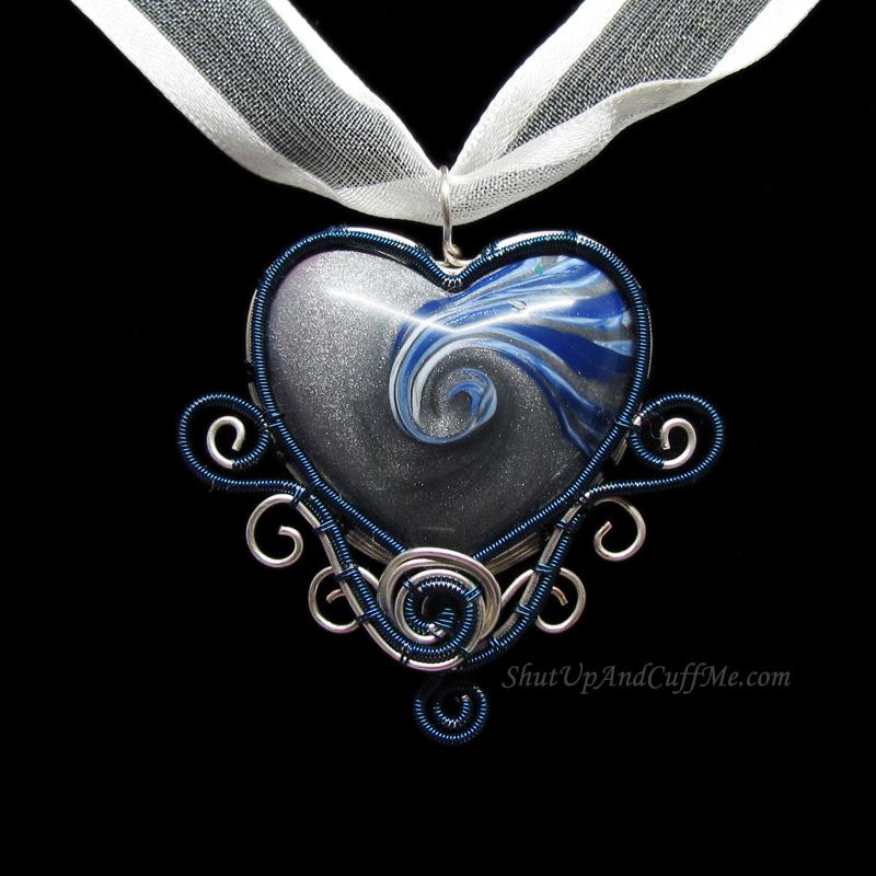 Blue and Silver Swirly Heart Pendant by Gailavira