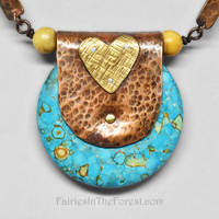 Mixed Metal Mosaic Turquoise Necklace