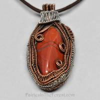 Copper, Sterling and Brecciated Jasper Pendant