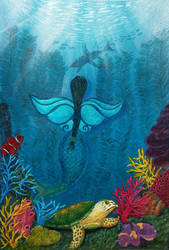 Mermaid Fairy Painting by Gailavira