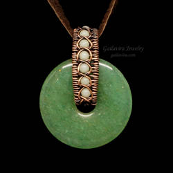 White Quartz and Green Aventurine Donut Pendant by Gailavira