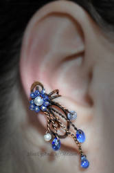 Blue and Copper Fairy Ear Cuff