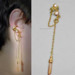 Gold, Pearl and Quartz Crystal Point Ear Cuff