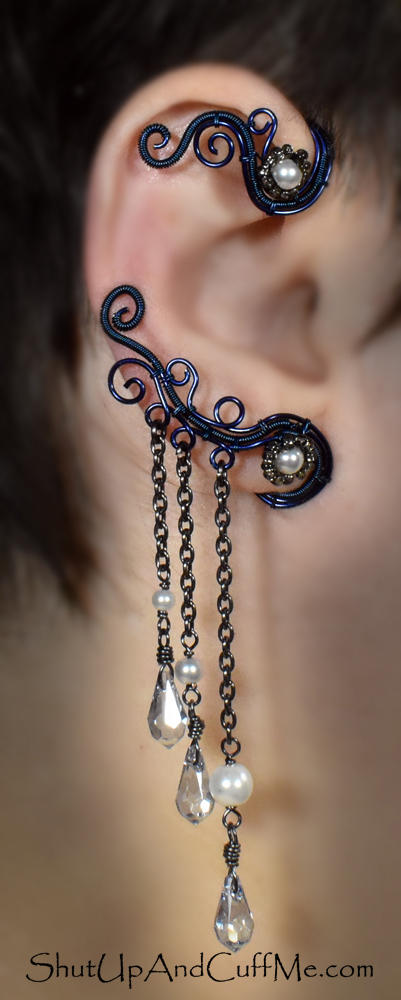 Blue Ear Wrap with Swarovski Crystals